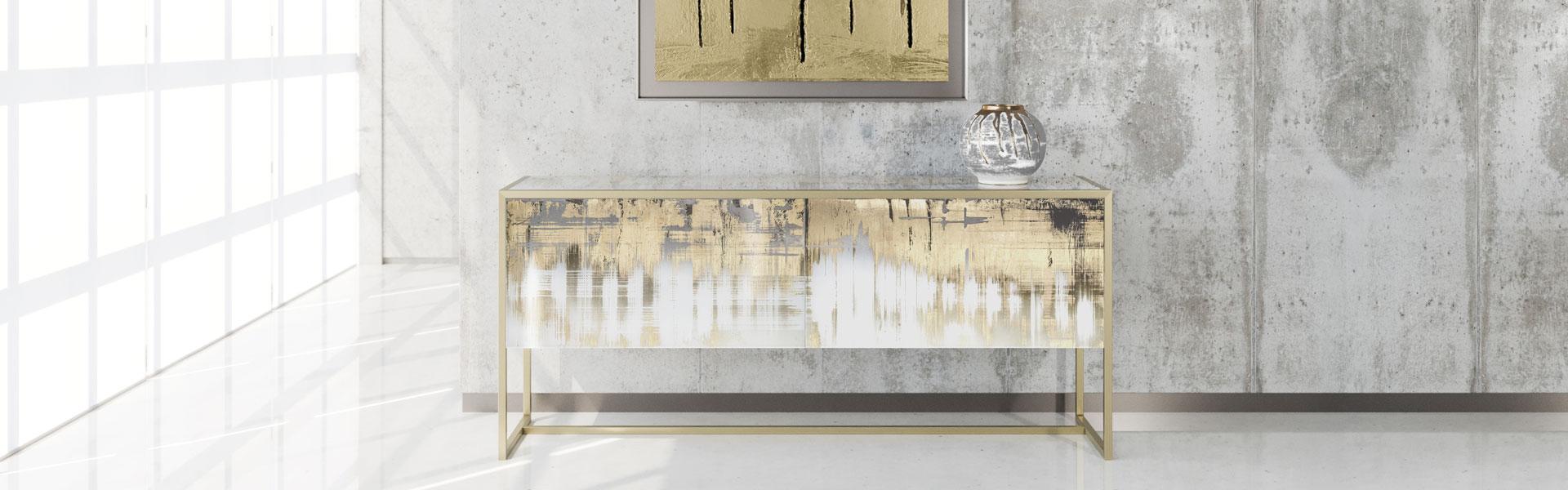 Concordia Contemporary Sideboard Buffet Furniture Golden Finishing Paesaggi Italiani Collection Arte Veneziana