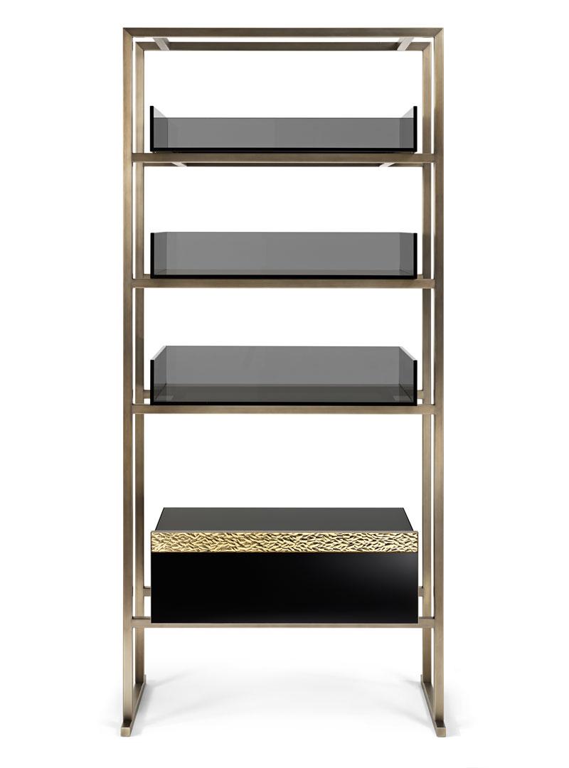 Seta Contemporary Handmade Bookcase Golden Glass Bookcase Transition Collection Arte Veneziana